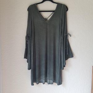 Olive Cold Shoulder Bell Sleeve Tie Shift Dress
